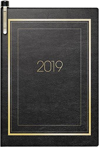 Brunnen 107133690 modello di calendario tascabile 713, 2 pagine = 1 settimana, 72 x 102 mm, copertina morbida nera, calendario 2019 con penna a sfera