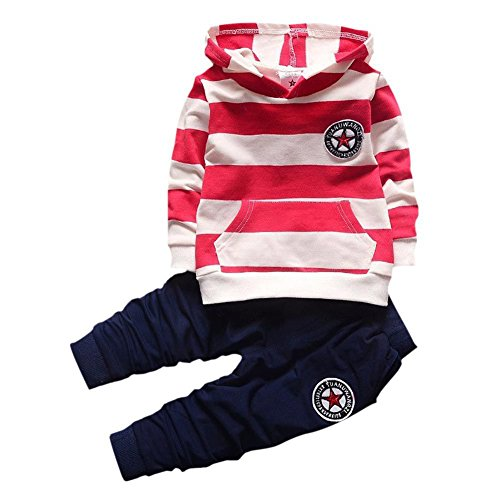 Jungen-Kleidungs-gesetztes Outfit-langes mit Kapuze gestreiftes T-Shirt und Hosen für 0-4 Jahre kleine Kinder durch Shiningup (2 Jungs-halloween Kostüme)
