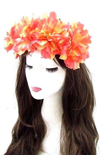 Grande Fleur Corail Rose Orange Bandeau Festival Couronne de cheveux élastique Big 645 * exclusivement Vendu par Starcrossed Beauty *