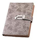 Ai-life PU Cuir Carnet de Notes Agenda Planificateur Organisateur avec Serrure à combinaison, A5 Taille (209x150mm) Cahier /Journal Bloc-notes/ Aidemémoire Cadenas Carnet de Notes avec un mot de passe Serrure à code, Porte-stylo