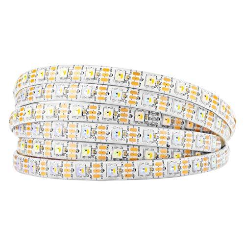 BTF-LIGHTING RGBW RGBWW Warmweiß SK6812 (ähnlich WS2812B) 5m 60leds/pixels/m Individuell adressierbar Flexibel 4 farbe in 1 LED Traumfarbe LED Streifen Wasserdicht IP65 DC5V