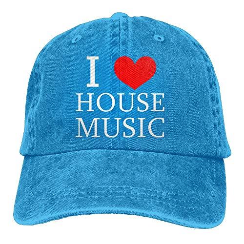 Nifdhkw Unisex Ich Liebe Haus Musik Sommer Mode Baumwolle Baseballmütze Einstellbare Trucker Hüte Für Outdoor-Sport Design14
