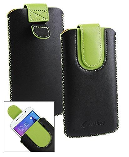 Emartbuyu00ae Schwarz/Grün PU Leder Slide in Hülle Tasche Sleeve Halter (Größe LM4) Mit Zuglasche Mechanismus Geeignet Für Creev Mark V Plus 4G LTE Smartphone 5.5 Zoll