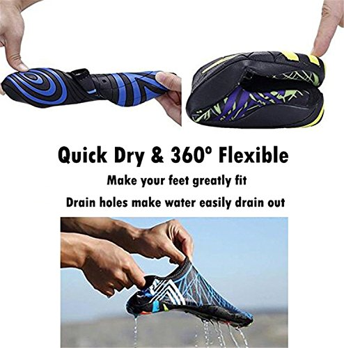 MIUINCY Men Women and Kids Quick-Dry Water Shoes Aqua Shoes Unisex Swim Shoes with 14 Drainage Holes for Swim,Walking,Yoga,Lake,Beach,Garden,Park,Driving,Boating Blue