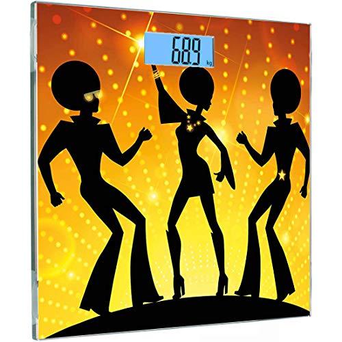 Ultra Slim Hochpräzise Sensoren Digitale Körperwaage 70er Jahre Party-Personenwaage aus gehärtetem Glas, Tanzende Menschen im Disco-Nachtclub mit Afro-Frisur Bokeh-Hintergrund, Pink Navy Blue Must (Frisuren 70er Disco)