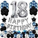 Yoart 18. Geburtstag Dekorationen, 18. Geburtstag Party Ballons blau Silber für Mädchen, Jungen, Frauen, Männer (80er Pack Party Supplies)