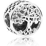 LafeeJewels Charm Albero della Famiglia,per bracciali Pandora,Oro 18 ct Zirconia Cubic Argento 925