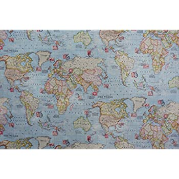 New world map and stamps print 100 cotton designer curtains new world map and stamps print 100 cotton designer curtains bedding cushion covers gumiabroncs Image collections