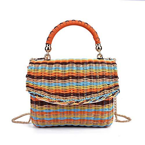 DEBJKJSK Quadratische Farbe Rattan Stroh Taschen für Frauen Sommerurlaub Strand gewebt Tasche Korb Umhängetasche Kette -