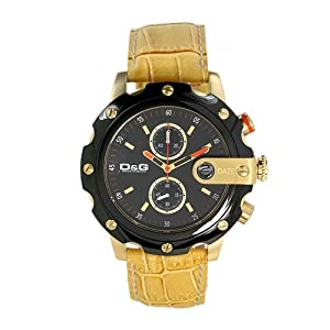 D&G Dolce&Gabbana DW0281 – Reloj analógico de mujer de cuarzo con correa de acero inoxidable dorada – sumergible a 30 metros