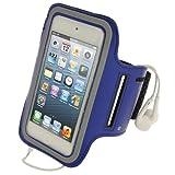 igadgitz Blu Fascia Braccio Antiscivolo Armband Sport Corsa Fitness per Apple iPod Touch 6G Generazione (Luglio 2015) & 5G Generazione (2012-2015)