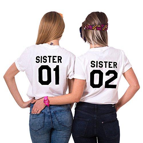 JWBBU Tees Shirts Pour deux Femmes Sœurs Shirt Best Friend T-Shirt Imprimé Sister01Sister02 2 Pièces Tops à Manches Courtes Chemiser Casual Été(wh-Sister-01-M+02-S)
