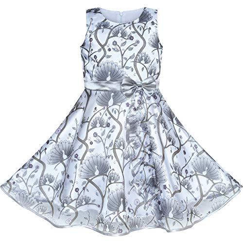 Mädchen Kleid Pfau Silber Grau Tüll Festzug Party Gr. 116 122 (Pfau-kleid Für Kinder)