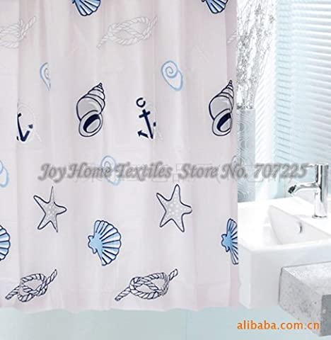NAUTICAL BLUE WHITE SHELLS ANCHOR ROPE 180 X 180 CM SHOWER CURTAIN + 12 HOOKS