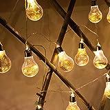 LED Lichterketten Glühbirnen,SUAVER 20LED Birne Dekorativ Lampen Kugel Beleuchtung,LED Schnur-Licht batteriebetrieben Weihnachtsbeleuchtung für Weihnachten, Hochzeit, Party, Garten, Haus (Warmweiß)
