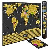 WIDETA Weltkarte zum Rubbeln in Deutsch mit Länderflaggen/Größe XXL (82 x 60 cm)/ + Bonus A4 Deutschlandkarte zum Rubbeln in Gold und schwarz/Made in Germany