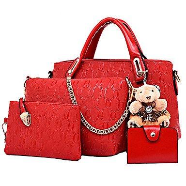 La moda casual donna borsa multifunzionale PU Borsetta Borsetta Borsa Donna Shopping collezione di quattro caricato,Beige Yellow