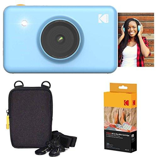 Kodak: Paquete básico de cámara instantánea Mini Shot (Azul) + Papel (20 Hojas) + Funda de Lujo.