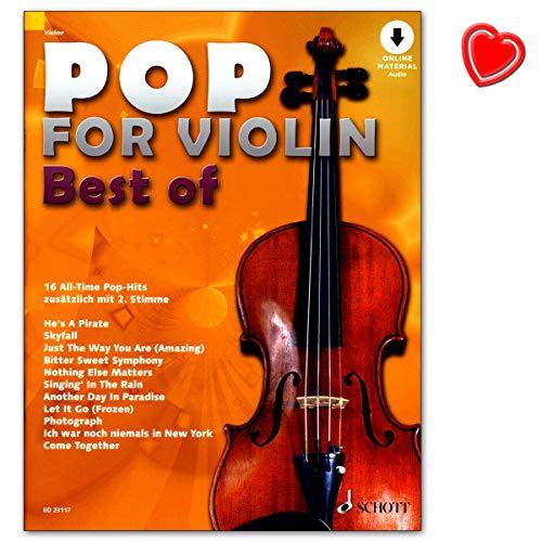 Pop for Violin : Best of - 16 juegos de pop hits todo en uno - El mejor de diez gastos Pop for Violin. - Libro de partituras con colorido clip en forma de corazón
