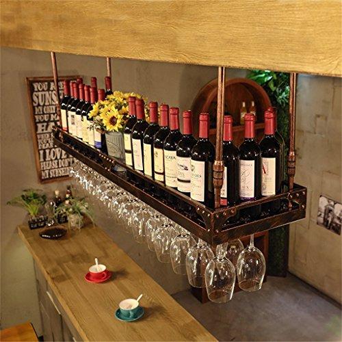 JIA JIA HOME- Weinregale höhenverstellbar, Deckenmontage hängend Weinflaschenhalter Metall Eisen Weinglas Rack Becher Stemware Racks - verschiedene Größen erhältlich ( Farbe : Bronze , größe : 120*35cm ) (Deckenmontage Glas Wein Rack)