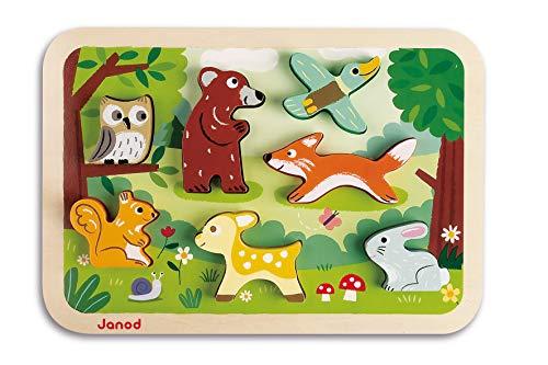 Janod J07023 Chunky Holzfiguren-Puzzle 7 Teile, Wald