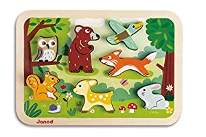 Janod - Chunky Puzzle de madera, Bosque (J07023)
