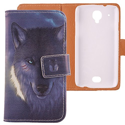 Lankashi Housse Cuir Etui Coque Case Cover Protection Flip Pour SFR STARTRAIL 5 v Wolf Design