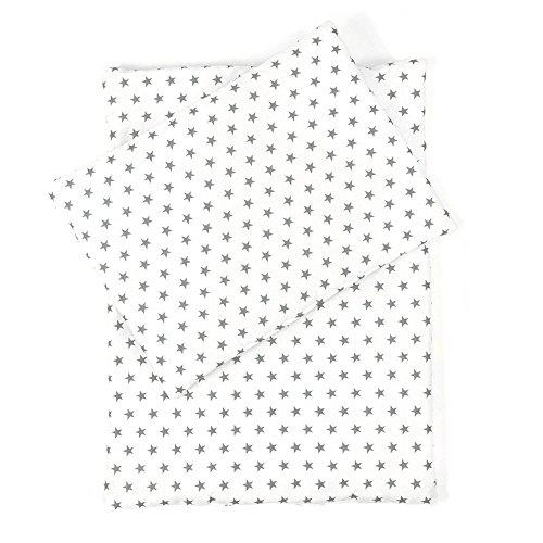 Little Sugarapple Puppenbettwäsche Sterne grau für Puppen Größe 36 cm - 44 cm, Öko Tex Standard, hergestellt in Deutschland