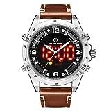 Reloj analógico Digital LED con Pantalla de Doble Hora, Correa de Cuero Genuino marrón y Carcasa de Acero Inoxidable para Hombre
