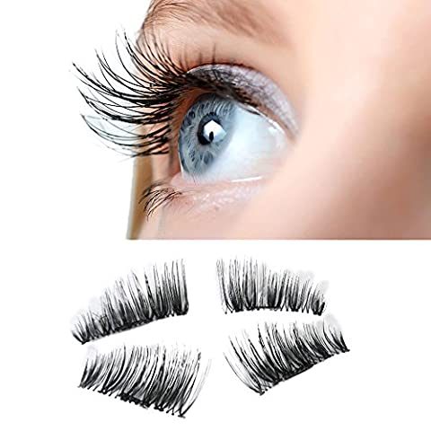 FEITONG 1 Pair (4 pieces) NEW Ultra-thin 0.2mm Magnetic Eye Lashes 3D Reusable False Magnet Eyelashes Extension (4 pieces,