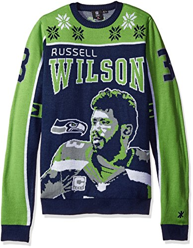 KLEW NFL Seattle Seahawks Wilson R. #3 2015 Player Ugly Sweater, Large, Green -