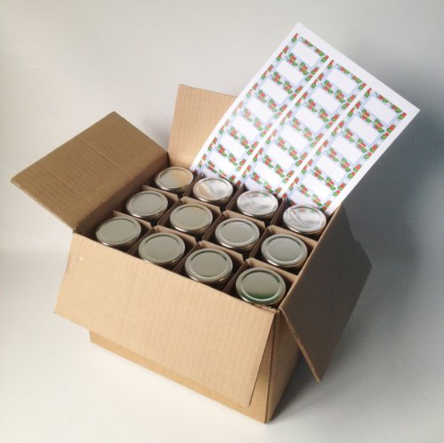 Preisvergleich Produktbild Nutley's 24 Marmeladengläser,  sechseckig,  mit goldfarbenem Deckel und Etiketten,  190 ml,  Lieferung im Karton