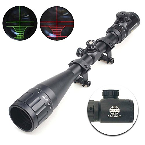 IRON JIA'S Spike 6-24x50 AOEG Lunettes de visée Portée Rifle Illuminated Red Dot Vert Scope Réticule Airsoft Gun Rifle Holographic Optical Sight Chasse