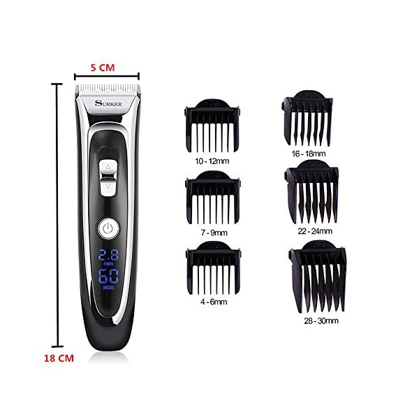 Professional Hair Clipper Cordless Clippers Hair Trimmer Beard Shaver Electric Haircut Kit Ceramic Blade Waterproof Rechargeable Battery LED Display For Men And Family Use