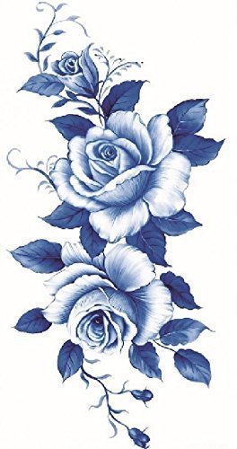 Grashine, adesivo per tatuaggio temporaneo, con splendide rose blu e bianco, dark, resistente all'acqua, non tossico, tatuaggio finto