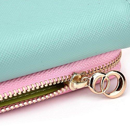 Kroo d'embrayage portefeuille avec dragonne et sangle bandoulière pour Karbonn Titanium Vent W4/Smart A12Star Smartphone Multicolore - Noir/gris Multicolore - Green and Pink