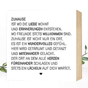 Wunderpixel® Holzbild Zuhause - 15x15x2cm zum Hinstellen/Aufhängen, echter Fotodruck mit Spruch auf Holz - schwarz-weißes Wand-Bild Aufsteller zur Dekoration oder Geschenk-Idee