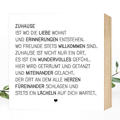 Zuhause - einzigartiges Holzbild 15x15x2cm zum Hinstellen/Aufhängen, echter Fotodruck mit Spruch auf Holz - schwarz-weißes Wand-Bild Aufsteller zur Dekoration oder Geschenk-Idee