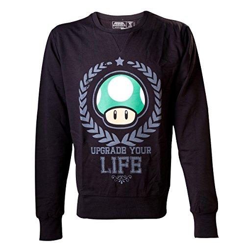 Nintendo Sudadera Mushroom Seta 1UP Upgrade Your Life tamaño L–Super Mario Bros. Sweater Suéter Jersey
