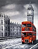 Old London rote Route Master-Bus und Big Ben. Kunst Öl auf Leinwand Gemälde - Hervorragende Qualität und Handwerkskunst, handgefertigte Wandkunst