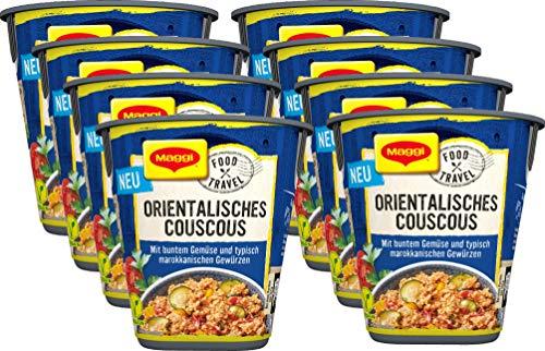 Maggi Food Travel Cup Orientalisches Couscous mit buntem Gemüse & marokkanischen Gewürzen, 8er Pack (8 x 61g)