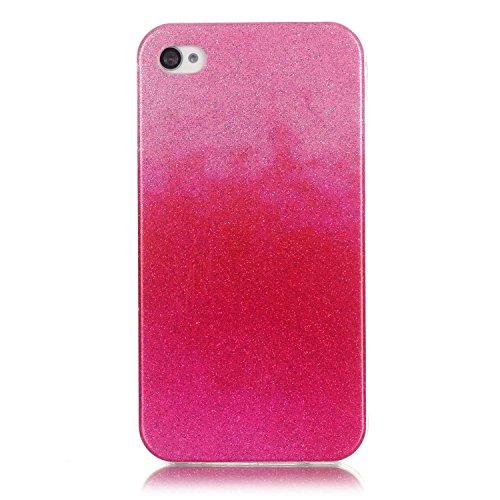 Coque iPhone 4S, Étui iPhone 4, iPhone 4S/iPhone 4 Case, ikasus® Coque iPhone 4S/iPhone 4 Silicone Étui Housse Téléphone Couverture TPU avec Dégradé de couleur Modèle de diamant brillant paillettes bl Rose vif