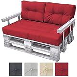 Beautissu Set da 2 cuscini mini per spalliera di divano in pallet ECO Elements 60x40x10-20cm - per bancali - rosso immagine