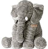 MorisMos Grau Elefant Plüsch Kissen Kuschelig Plüschtier Kinder Baby Geschenk 60x45x25cm