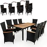 Deuba Poly Rattan Sitzgruppe 8+1 schwarz | 7cm dicke Sitzauflagen creme | 8 stapelbare Stühle | Tischplatte + Armlehnen aus Akazienholz [ Modellauswahl ] - Sitzgarnitur Gartengarnitur Gartenmöbel Holz Set