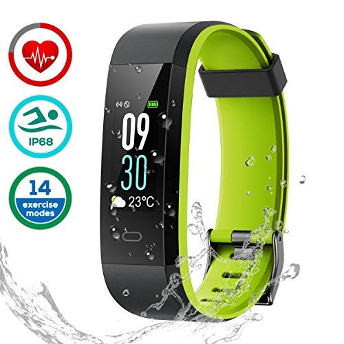 Pulsera de Actividad, LATEC Pulsera Inteligente Pantalla Color Fitness Tracker Impermeable IP68 con Visualización del tiempo 14 Modos de Multi-Deporte Pulsómetros Contador de Calorias Monitor de Sueño Notificación Alarmas captura de cámara para Android y IOS Teléfono