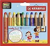 Crayon de coloriage - STABILO woody 3in1 - Étui carton x 10 crayons de couleur + taille-crayon