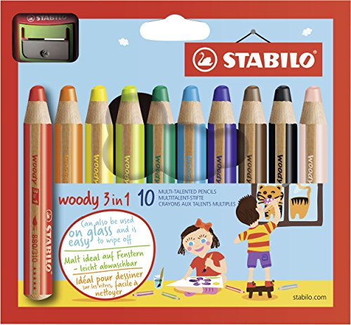 Stabilo woody 3 in 1 matitoni colorati + temperino - astuccio da 10