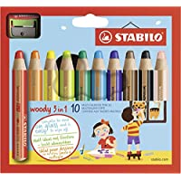 Buntstift, Wasserfarbe & Wachsmalkreide - STABILO woody 3 in 1 - 10er Pack mit Spitzer - mit 10 verschiedene Farben