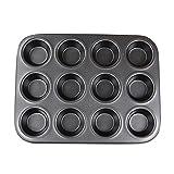 Homankit 12er Mini-Muffinform, Antihaftbeschichtung Muffin Backform Backblech für Herzhafte Rezepte, 25.5 x 19.5 cm